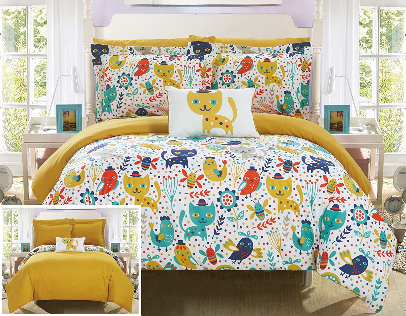 Chic Home Flopsy 6 Piece Reversible Comforter Cute Animal Friends Youth Design Bed in a Bag-Sheet Set Decorative Pillow Shams Included/XL Size, Twin, Yellow
