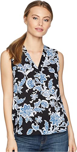 Petite Sleeveless Exotic Woodblock Floral V-Neck Blouse