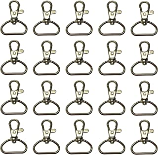 Prudance 20pcs Silvery 1 Inch Inside Diameter D-Ring Lobster Clasp Claw Swivel Eye Lobster Snap Clasp Hook for Strap