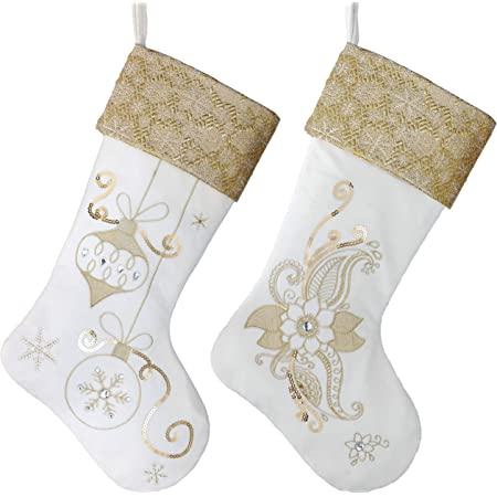 "TAHARIGorgeous Lux Gold Sequin Christmas Stocking 22"""