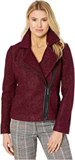 Zip-Up Moto Jacket in Soft Boucle Berry SM