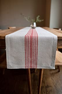 Solino Home Farmhouse Stripe Table Runner – 14 x 72 Inch, 100% Natural Fabric, Handcrafted Machine Washable - Red