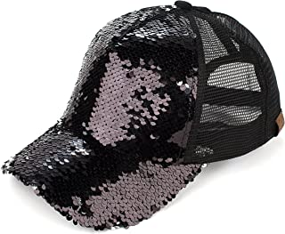 Hatsandscarf C.C Magic Sequin Pony Tail Trucker Cap (BT-723)