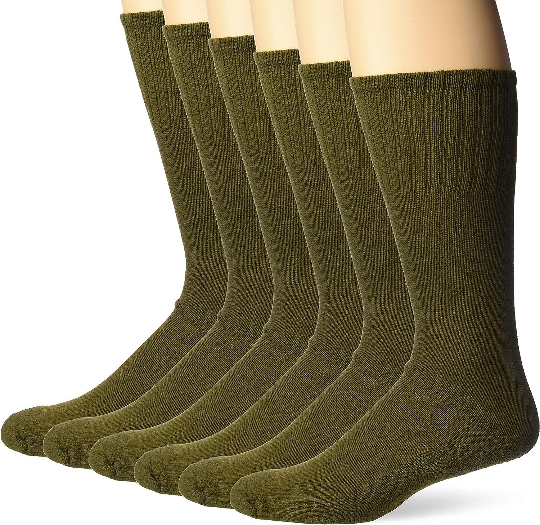 Jefferies Socks mens Military Uniform All Season Rib Top Crew Boot Socks 6 Pack