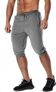 Men's Joggers Casual Sweatpants with Pockets Gym Workout Running Shorts Drawstring Elastic Waist Capri Pants