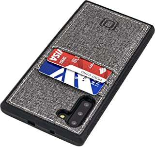 Dockem Luxe M2T Wallet Case for Samsung Galaxy Note 10: Slim TPU with Canvas Synthetic Leather: Card Case with Integrated Metal Plate for Magnetic Mounting