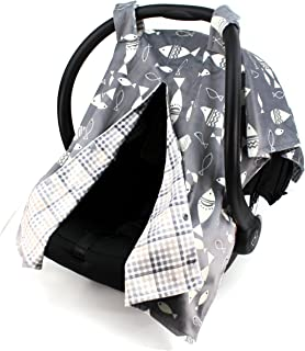 Dear Baby Gear Deluxe Reversible Car Seat Canopy, Custom Minky Print, Fish on Grey / Grey Tan Plaid