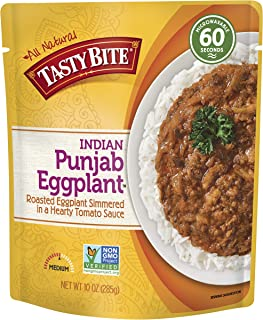 Tasty Bite Indian Entree Punjab Eggplant 10 Ounce, Fully Cooked Indian Entrée with Eggplant in Tomato Onion Sauce, Medium Spice, Vegan, Gluten Free, Microwaveable, Ready to Eat