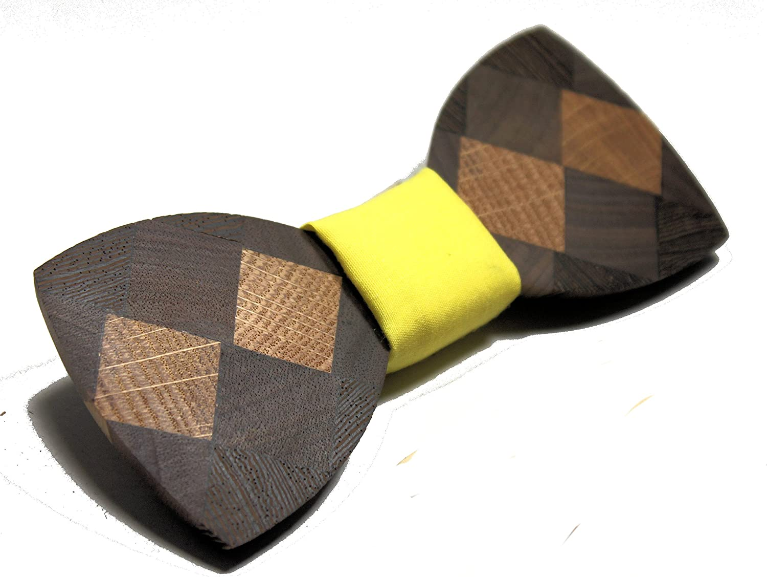 Solid Multi Wood Bow Tie with Yellow Fabric