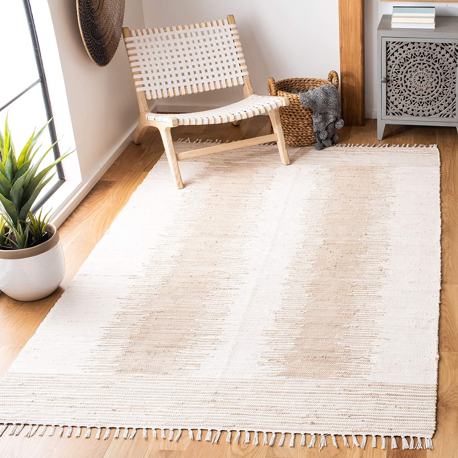 Safavieh Montauk Collection MTK752A Fringe Excellent Area Cotton Handmade Direct stock discount