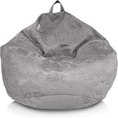 Delmach Bean Bag Chair Cover (No Filler) | Bird's Nest Shape | Adult Size | Microsuede | Stuffed Animal Storage for Kids
