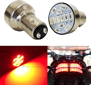 Mega Racer Motorcycle 1157 Super Red LED 12 Chip BAY15D P21/5W Tail Stop Brake Light 7528 2057 2357 Scooter Chopper Bike Moped Lamp