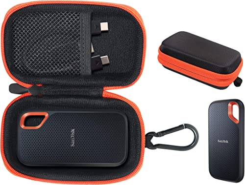 getgear case for SanDisk Extreme, Extreme Pro Portable SSD Compatible with 500GB, 1TB, 2TB, 4TB, Black with Orange Contrast Handy Travel case