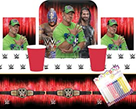 WWE Smash Wrestling Party Suppiles Pack Serves 16: Dinner Plates Luncheon Napkins Cups ans Table Cover with Birthday Candl...