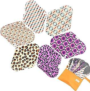 7pcs Set 1 pc Mini Wet Bag +6pcs Absorbent Reusable Sanitary Pads/Washable Bamboo Cloth Menstrual Pads (M,Geometry)
