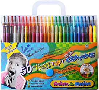 50 Colors-in-Motion Twist-up Crayons, Colored Pencils, Kids Crayon, Adult Coloring, Professional Drawing (7 in length)