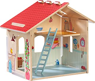 HABA Little Friends Homestead - Wooden Farmhouse with Upper Loft, Ladder & Detailed Illustrations