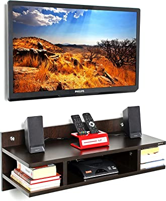 """BLUEWUD Reynold Engineered Wood TV Entertainment Wall Unit/Set Top Box Stand for Living Room -Ideal for Upto 32"""" Tv (Wenge Finish)"""