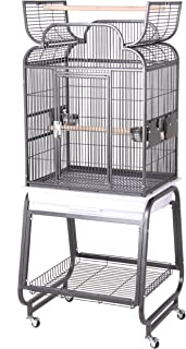 HQ's Opening Scroll Parrot Cage con soporte para carrito, pequeño, platino, 1 por caja
