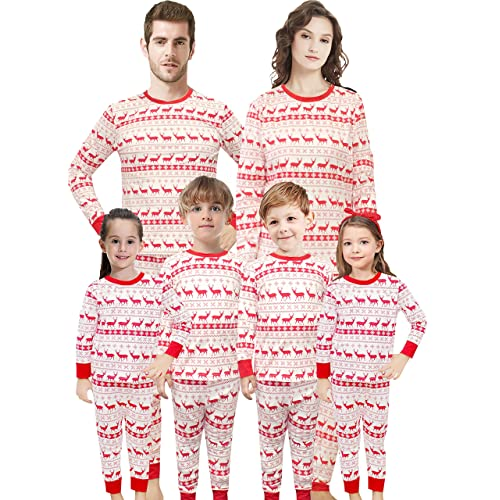 cc7d09cc07 Christmas Family Matching Pajamas Set Santa s Deer Sleepwear The Family  Boys Girls Red