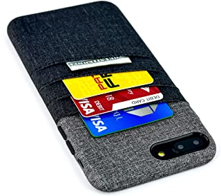Dockem Card and Cash Case for iPhone 8 Plus and iPhone 7 Plus - Minimalist Synthetic Leather Wallet Case, Canvas Twill Styling, Slim Cover with 3 Card Holder Slots, 1 Cash Pocket (Black and Grey)