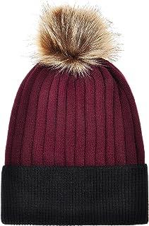 ZLYC Women's Winter Warm Two-Tone Ribbed Knit Cuff Beanie Hat with Faux Fur Pom Pom