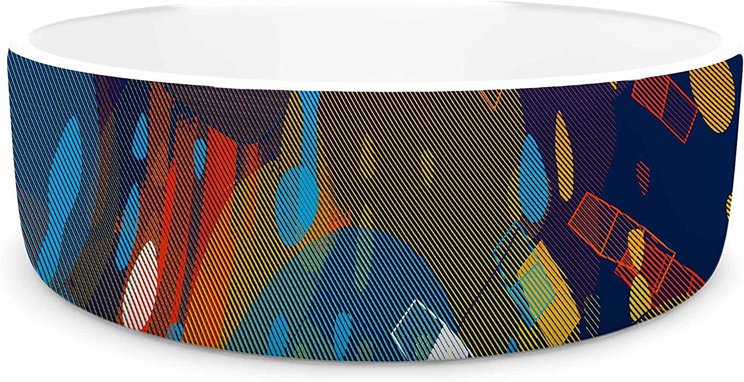 KESS InHouse Frederic LevyHadida color Fall  bluee Multicolor Pet Bowl, 7