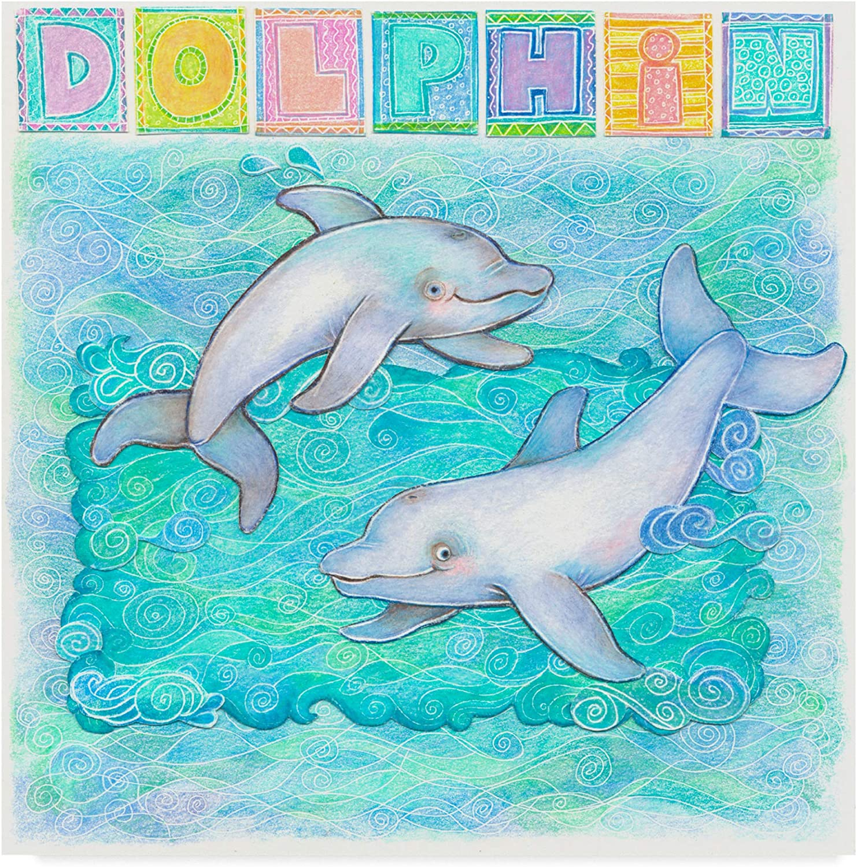 Trademark Fine Art Dolphin Playful by Cheryl Piperberg, 14x14 Fine Art, Multicolor