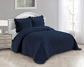 AZORE LINEN Solid Bedspread Quilt Coverlet Bedding Set Embossed with Seamless Geometric Diamond Diagonal Plaid Pattern - J...