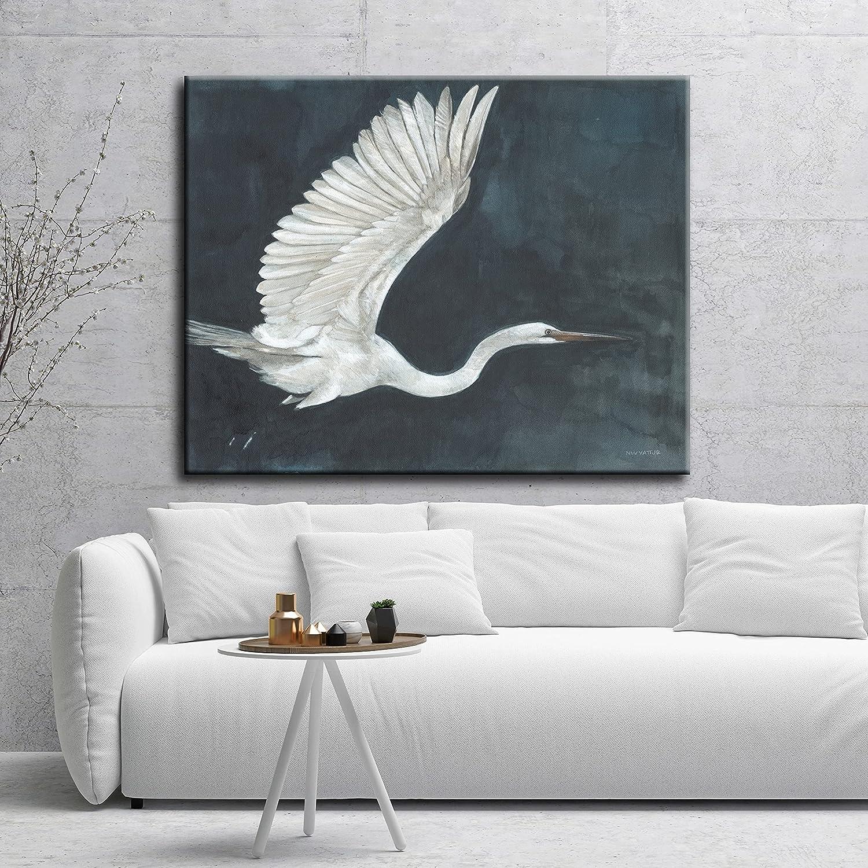 Night Flying mart White Blue Bird Tulsa Mall Animals Beach Canva Gallery Wrapped