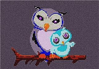 pepita Owl Mom and Baby Needlepoint Canvas