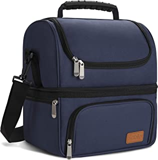 Sable Large Lunch Box for Men Insulated Reusable Adult Lunch Bag Waterproof Cooler Tote Bag for Meal Prep with 2 Main Spacious Compartments, Navy Blue