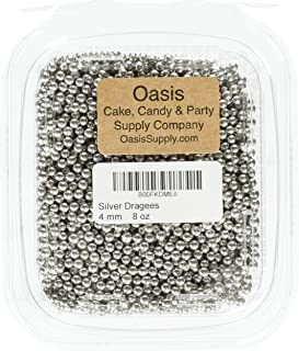 Silver Dragees Dragees 8-Ounce Sugar Cake Cupcake Cookie Sprinkles, 4mm, Silver