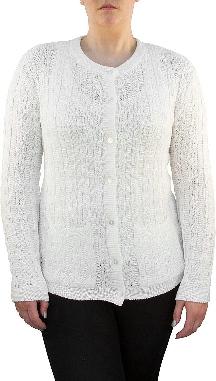 Gabriel Womens Long Sleeve Cable Button Down Cardigan Sweater Two Pockets Slate