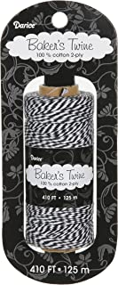 Darice BT103 2-Ply Bakers Cotton Twine, 410-Feet, Black/White