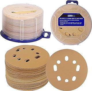 PLATINUMEDGE 5 Inch 8 Hole Gold Sanding Discs Hook and Loop Sanding Discs for Random Orbital Sander,80/150/220/320/400/600...