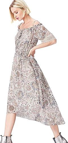 find. Damen Schulterfreies Kleid mit Blaumenmuster
