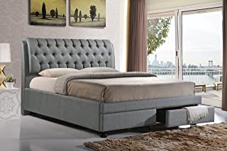 Baxton Studio Ainge Contemporary Button-Tufted Fabric Upholstered Storage Bed with 2 Drawers, Queen, Grey