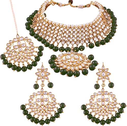 I Jewels Traditional Kundan & Pearl Choker Necklace Set for Women (K7058G) product image