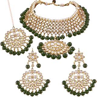 06a8dea36f800e I Jewels Traditional Kundan & Pearl Choker Necklace Set for Women (K7058G)