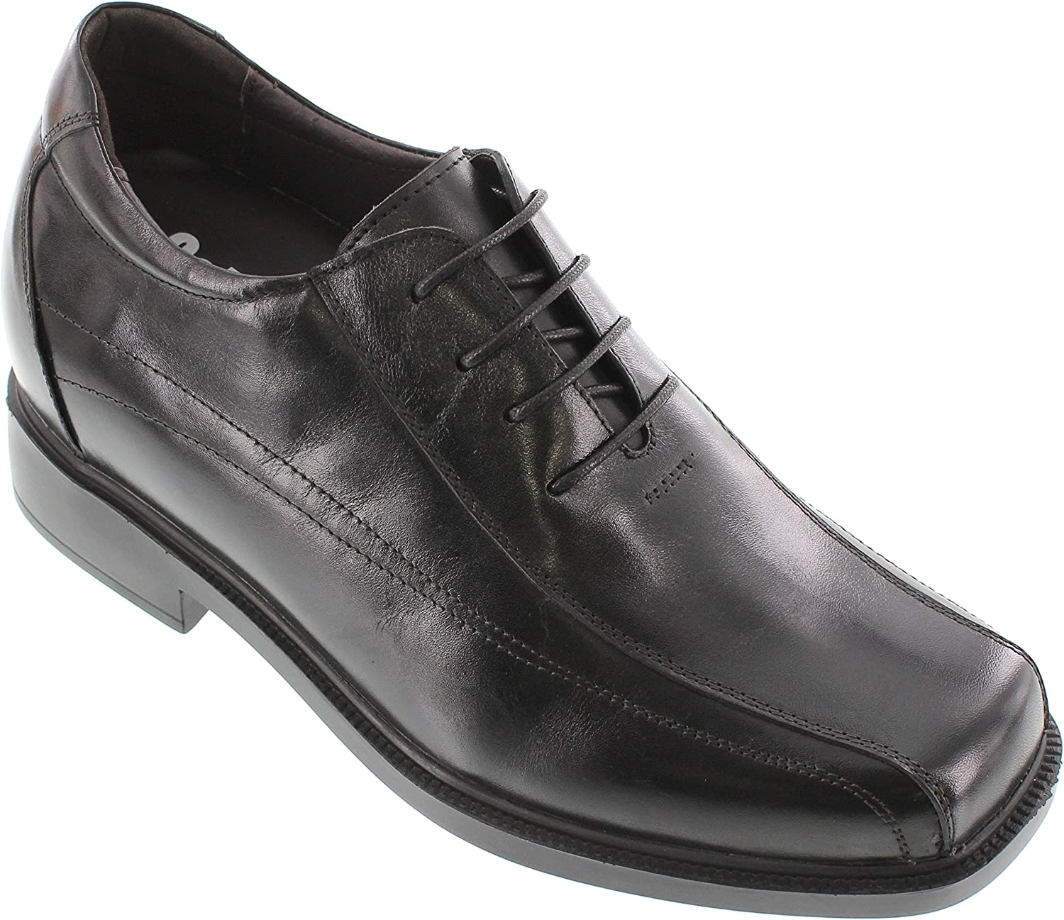 Calden Men's Invisible Height Increasing Elevator Shoes - Black Leather Lace-up Wide Fit Lightweight Dress Oxfords - 3.3 Inches Taller - K31715