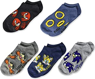Nintendo Sonic Boy's 5 Pack No Show, Assorted Neutral, Fits Sock Size 6-8.5 Fits Shoe Size 7.5-3.5