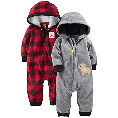 4d9afd2d7 Simple Joys by Carter's Baby Boys' 2-Pack Fleece Hooded Jumpsuits