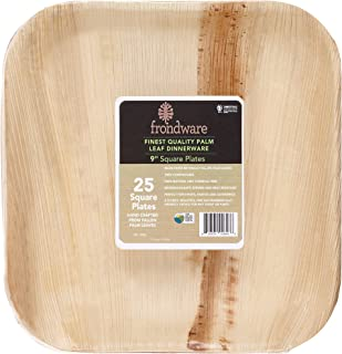 """Frondware 9"""" Palm Leaf Square Disposable Plates - Pack of 25 - Compostable - 100% Natural - Chemical Free - USDA Certified Biobased Product"""
