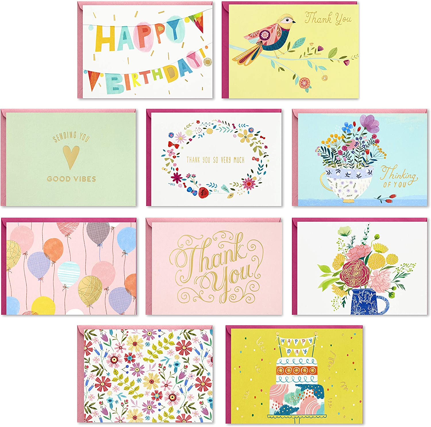 Hallmark Pack of 30 Assorted Good Ranking TOP18 Cards Greeting VibesâBoxed Great interest