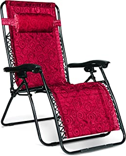 Camco 51833 - RV Trailer Camper Outdoor Living Zero Gravity Recliner Large Red Swirl