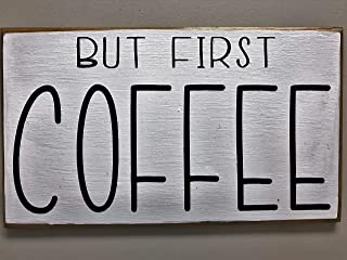 DKISEE Wood Sign But First Coffe Sign Fixer Upper Style Home Living Kitchen Coffee Bar Wall Decor 4x6 inches Wooden Sign