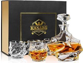 KANARS Emperor Whiskey Dekanter und Gläser Set, handgefertigt, Kristallkaraffe, Set für Likör, einzigartiges Geschenk für Männer
