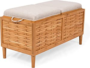 BIRDROCK HOME Bamboo Storage Bench - Storage Box - Reversible Linen Cushioned Top and Serving Tray - Natural Spa Bench Ottoman