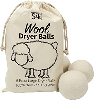 S&T 559701 New Zealand Wool Dryer Balls - XL Size - Natural White, 6PK